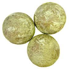Decorative Sphere Balls Green and Gold Handmade Papier Mache Accent Balls Set of Three 34