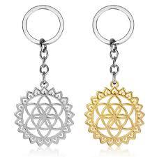 indian flower of life boho tone pendant keychain mandala sacred geometry jewelry fleur de vie accessories