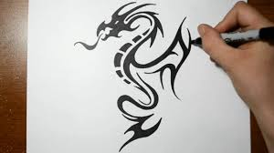 Easy Dragon Designs How To Draw A Tribal Dragon Tattoo Design Sketch 5