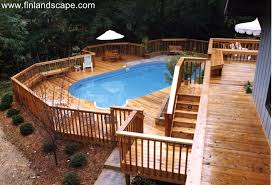 Backyard Swimming Pool A Hillside Back Yard Including A Swimming Pool Multilevel Decks