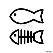 Simple Fish Outline Fish And Skeleton Simple Vector Icon Black And White Illustration