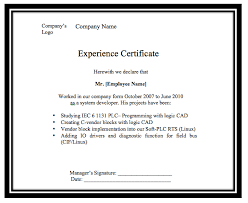 Experience Format Certificate - Tier.brianhenry.co