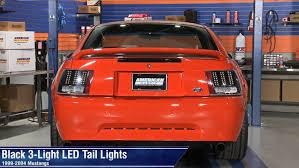 Mustang Black 3-Light LED Tail Lights (99-04 GT, V6, Mach 1 ...