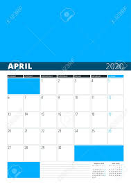 April 2020 Template Wall Calendar Planner For April 2020 Vector Design Print Template