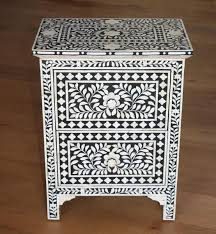 Pair of Bone Inlay Bedside Chest Tables – Shropshire Design