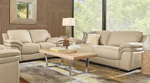 Cindy Crawford Home Grand Palazzo Beige Leather 5 Pc Living Room