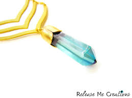 mythic chevron aqua aura quartz crystal necklace product image