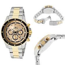 invicta men s pro diver watch invicta pro diver gold dial black hands silver and gold band invicta 12456