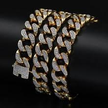 men s hip hop jewelry 13mm iced out zircon cuban chain necklace copper gold color micro cz clasp cuban necklace