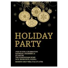 Christmas Party Invitations Gold Ornaments Design Printed With Envelopes Included