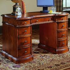 office furniture desk vintage chocolate varnished. Hooker Furniture Small Knee-Hole Desks Knee Hole Desk With Bow Front - AHFA Double Pedestal Dealer Locator Office Vintage Chocolate Varnished