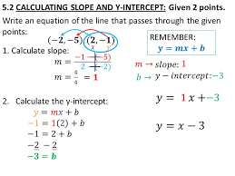5 2 calculating slope and y intercept given 2 points