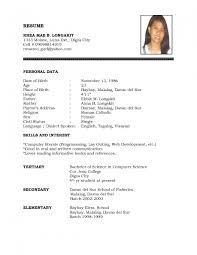 Simple Filipino Resume Format Templates Throughout Ideal Vision Yet