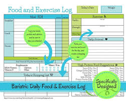 Food And Exercise Diary Bariatric Surgery Daily Food Exercise Tracker Weigh Loss Journal Diet Log Weight Loss Diary Nutrition List Exercise Tracker Journal