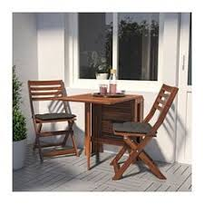 ÄpplarÖ table 2 folding chairs outdoor brown stained