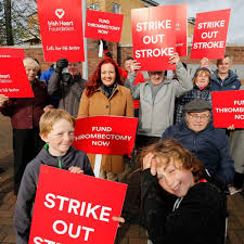 stroke survivors protest outside hospital over broken equipment for saving lives