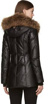 norway lyst mackage black leather down ingrid coat in black 435c6 9605b