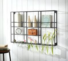 black metal open shelving kitchen wall shelf unit with glass rack pottery barn o open metal shelving