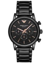 ralph lauren 45mm black ceramic chronograph in black for men lyst emporio armani ceramic chronograph bracelet watch lyst