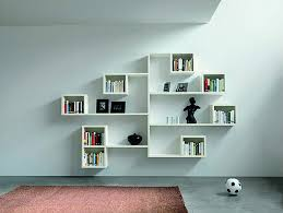Alternating shelves design room divider white finish wood modern styling  slim line bookcase shelf unit.