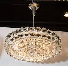 mid century modernist hand cut crystal drum chandelier by enchanting bronze with crystals shade