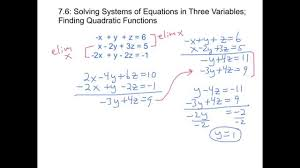 7 6 solving systems of linear equations in 3 variables finding
