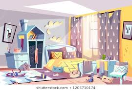 messy bedroom of lazy child with tered toys and dirty clothes stained furniture and capet