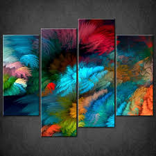 abstract colourful split canvas wall art