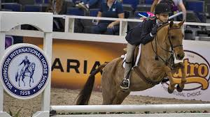 "Washington International Horse Show, VERIZON CENTER, WASHINGTON, DC, Petra  Smith ,Bluemont Virginia ,onboard, ""Caramel Latte"" ,hits a ,jump, in the  ,regional pony hunter final, horse show, horses,   Loudoun Now"