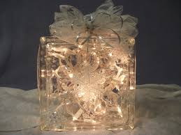 decorative lighted glass block with clear lights