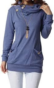 levaca Womens Long Sleeve <b>Button Cowl Neck Casual</b> Slim Tunic ...