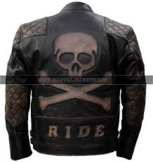 skull bones ride biker men motorcycle rider brown black genuine leather jacket