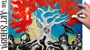 q tip painting acrylic painting weirwood tree winterishere fire and ice
