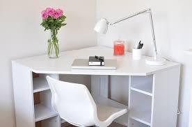 image of simple small white corner desk