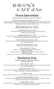 specials menu menu specials ravens cafe dart