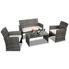 costway 4 pc rattan patio furniture set garden lawn sofa cushioned seat mix gray wicker 2