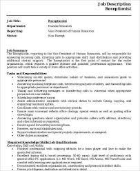 Top 20 Receptionist Job Description Resume Receptionist