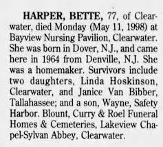 Obituary for BETTE HARPER (Aged 77) - Newspapers.com