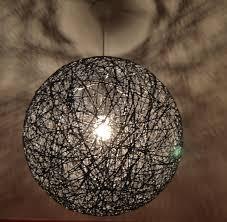 handmade lighting design. Black Sphere Lamp, Modern Pendant Design Light, Shadow Globe Light. 50cm-20\ Handmade Lighting A