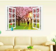 faux window wall art warm romantic false window scenery flowering cherry trees wall stickers living room faux window wall art