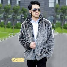 100 authentic guaranteed light gray men jacket casual winter warm faux fur coat luxurious men