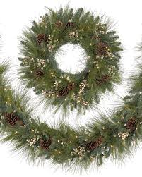 harvest pine artificial outdoor wreath and garland rollover to zoom in