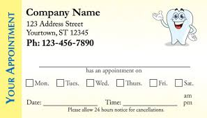 Appointment Card Template Dental Appointment Business Cards Medical Appointment Cards