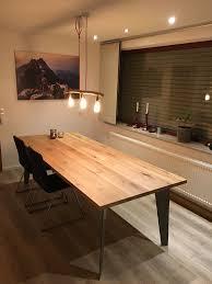 Tisch Mit Eichenholz Tischplatte Und Treibholz Lampe Deko Und Diy
