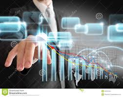 Push Stock Chart Businessman Hand Touch Virtual Stock Graph Chart Stock