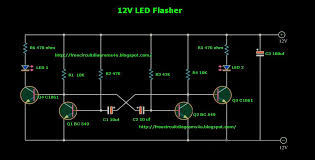 circuit diagrams u v led flasher for cars actually this is a blinking led circuit on the other hand this circuit is called multivibrator circuit the impotent thing of this circuit is this circuit