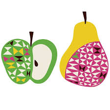 >apple and pear removable fabric wall stickers