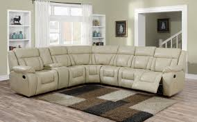 evergreen beige leather recliner sectional