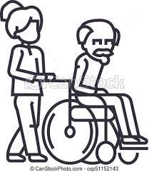 年長者 ストローク 散歩 車椅子 Editable 若い イラスト 印 ベクトル 労働者 社会 女 アイコン 線 背景