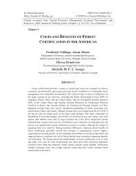 Certification Costs Benefits Americas Forest Of And The pdf In